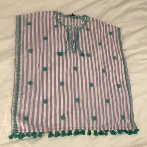 J. Crew stripe embroidered beach coverup